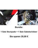 Bundle: 1 Satz Sturzpad X-PAD + 1 Satz Gabelschützer Aprilia SMV 1200 Dorsoduro lange Pads